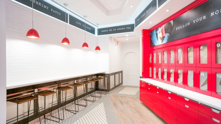 while being a relatively small and narrow space the design team did not want the restaurant to feel cramped and claustrophobic but light and airy - Kitchen Cabinets New York City