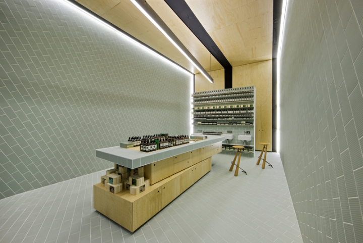 Aesop store by ryan russell doncaster uk retail design blog for example the wall tiles are laid in a brick pattern that subtly shifts in plane and texture aiming to create a sense of movement within the space sciox Images