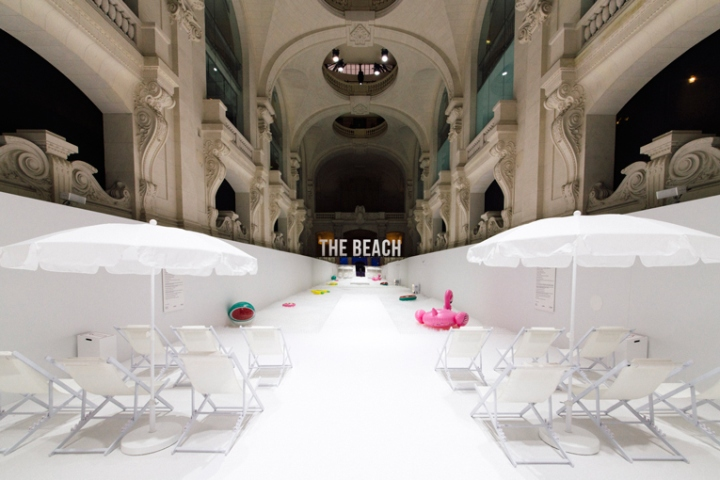 The beach installation by Snarkitecture in Milan, Italy