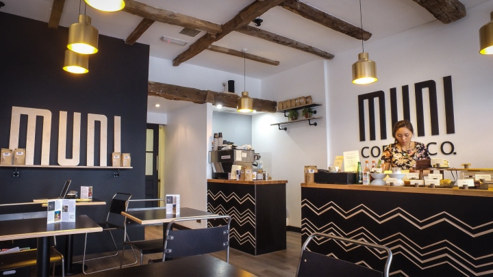 Muni coffee shop branding and design by crate47 london Interior design stores london
