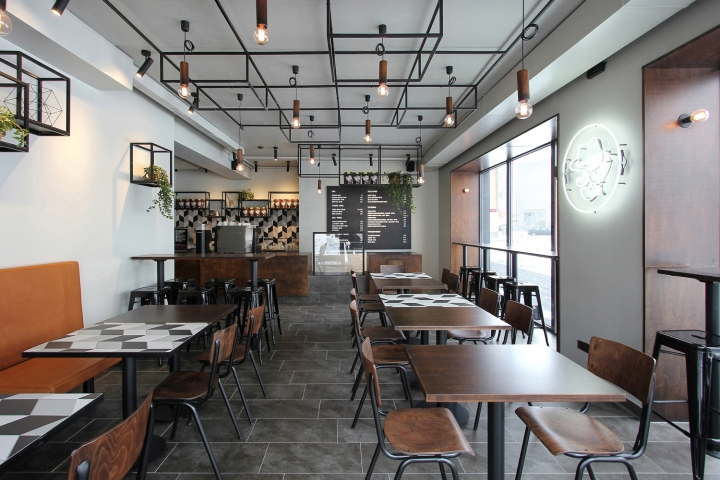 they are matched with dark brown covered with black patina plywood furniture and jambs dark tones become more vivid on the light walls background