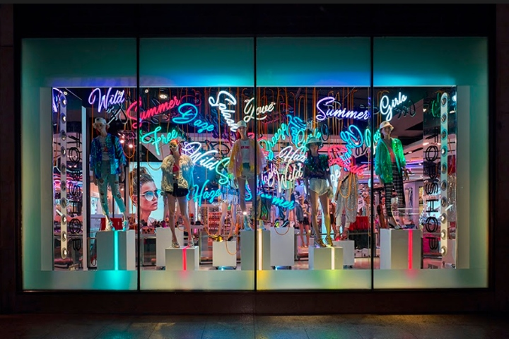 topshop oxford street neon summer window london uk. Black Bedroom Furniture Sets. Home Design Ideas
