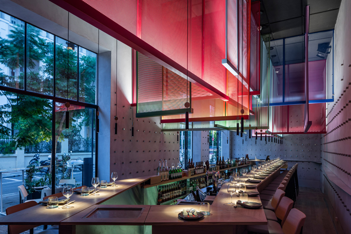 Mesh Screens In Contrasting Colours Hang Above The Heads Of Diners At Tel  Avivu0027s Ya Pan Bistro, Designed By Local Architects Pitsou Kedem, Irene  Goldberg ...