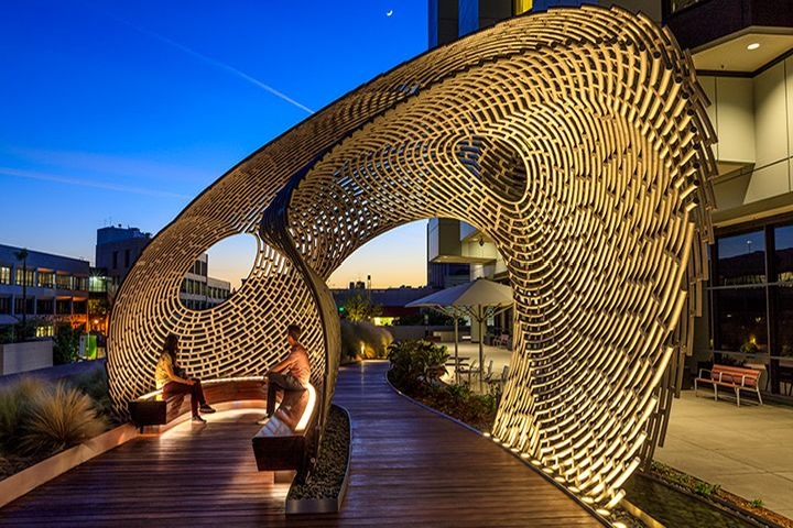 Healing pavilion by ball nogues studio los angeles for Recycled building materials los angeles