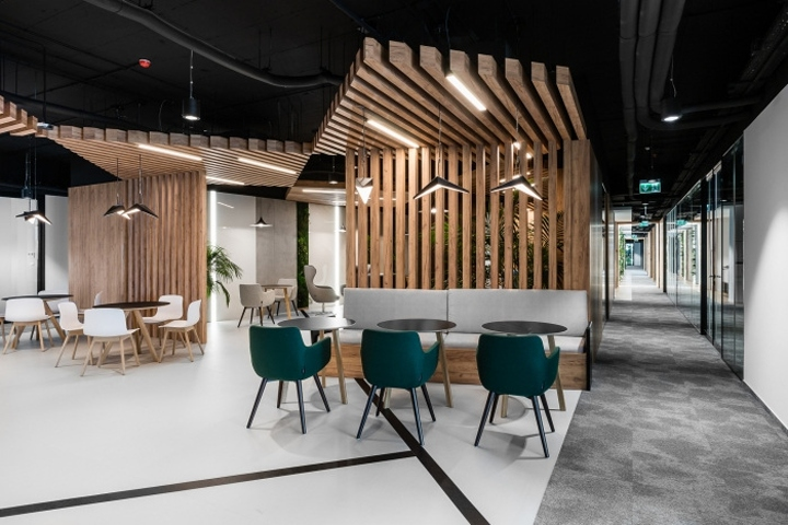 the design office. The Design Group Have Completed Office For Security Software Company Eset, Located In Kraków, Poland. Wood, Concrete And Black Wall Casings Are