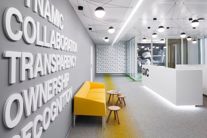 office by design. The Combination Of Calm Working Environment And Accent Colours Goes Together With Large Typography Design Inspired By Corporate Value GVC. Office
