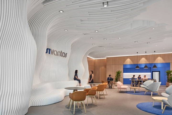 Inspired By Sound Waves, An Exciting Sculptural U0027sound Wallu0027 Sits In The  Buildingu0027s Reception Area U2013 Establishing A Strong And Immediate Wow Factor  To ...