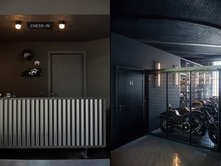 Filling station motel garage and concept store by visual display